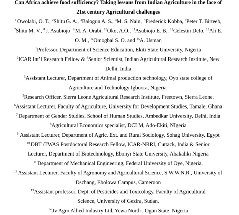 Can Africa achieve food sufficiency? Taking lessons from Indian Agriculture in the face of 21st century Agricultural challenges