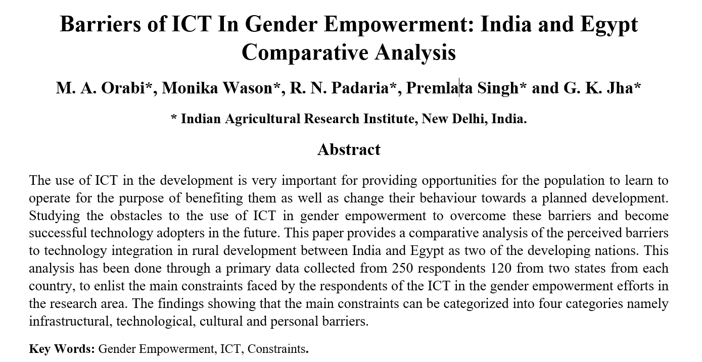 Barriers of ICT In Gender Empowerment: India and Egypt Comparative Analysis