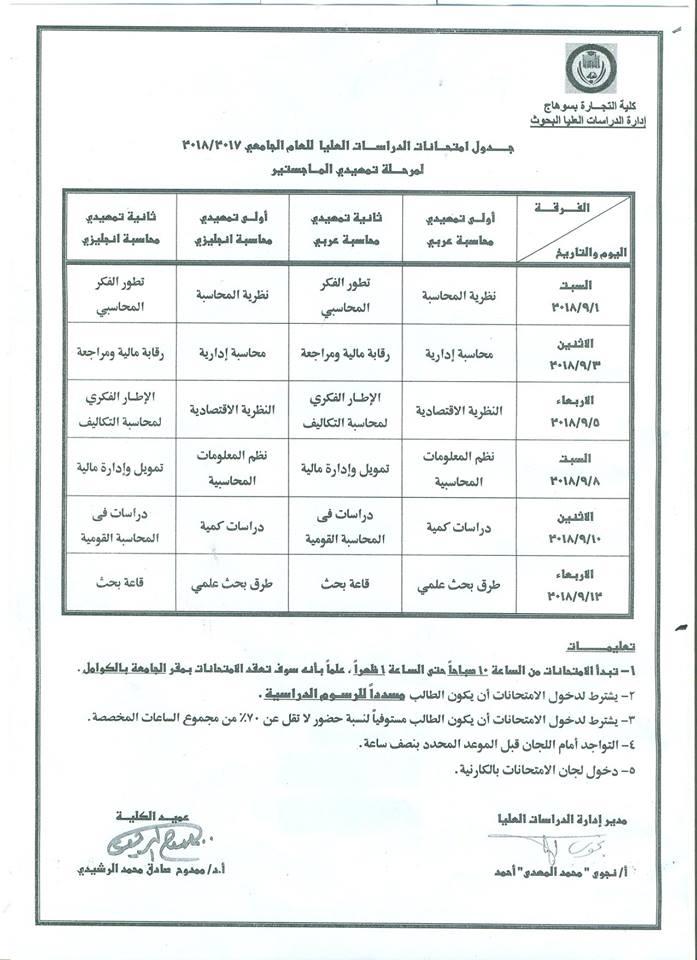 جدول امتحانات مرحلة الدراسات العليا للعام 2017-2018