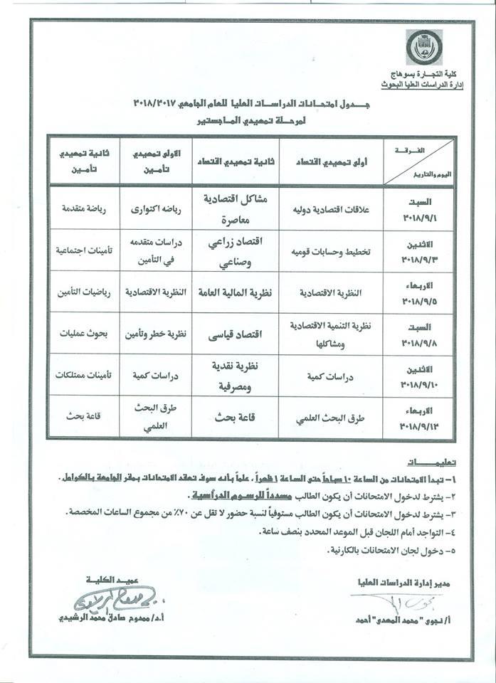 جدول امتحانات مرحلة الدراسات العليا للعام 2017- 2018ملحق 2