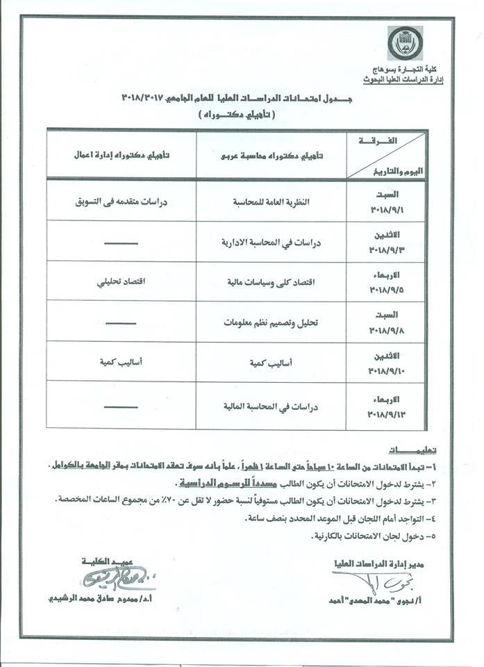 جدول امتحانات مرحلة الدراسات العليا للعام 2017- 2018ملحق 4