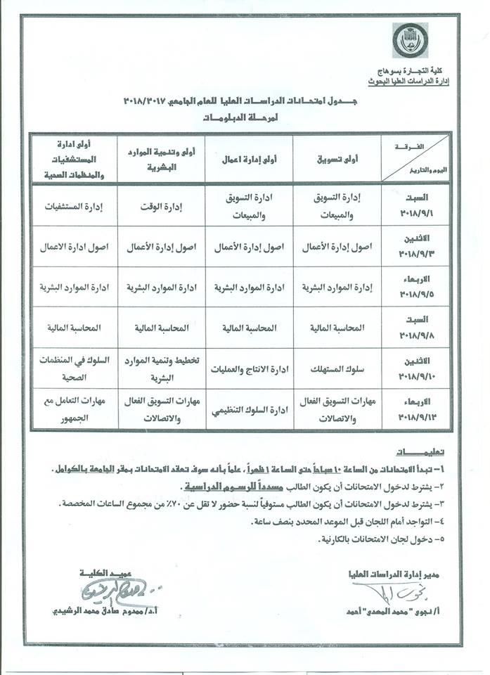 جدول امتحانات مرحلة الدراسات العليا للعام 2017- 2018ملحق 5
