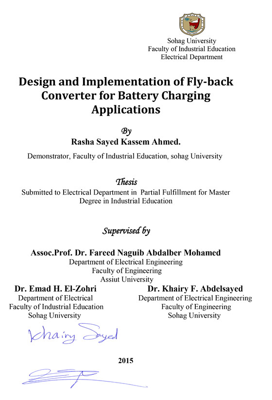 Design and Implementation of Fly-back Converter for Batteries Charging Applications