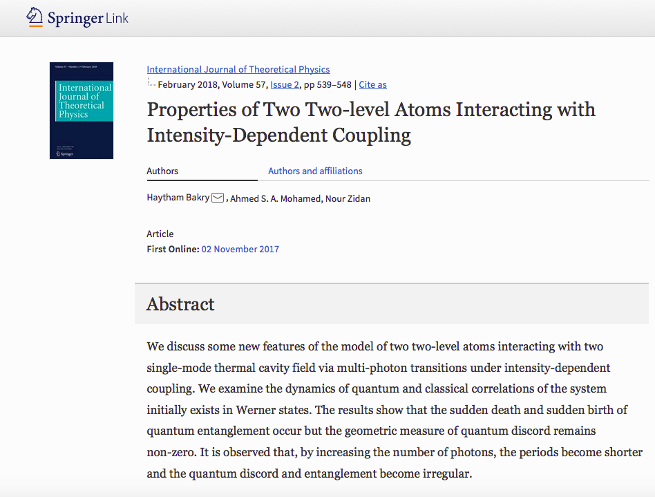 Properties of Two Two-level Atoms Interacting with Intensity-Dependent Coupling