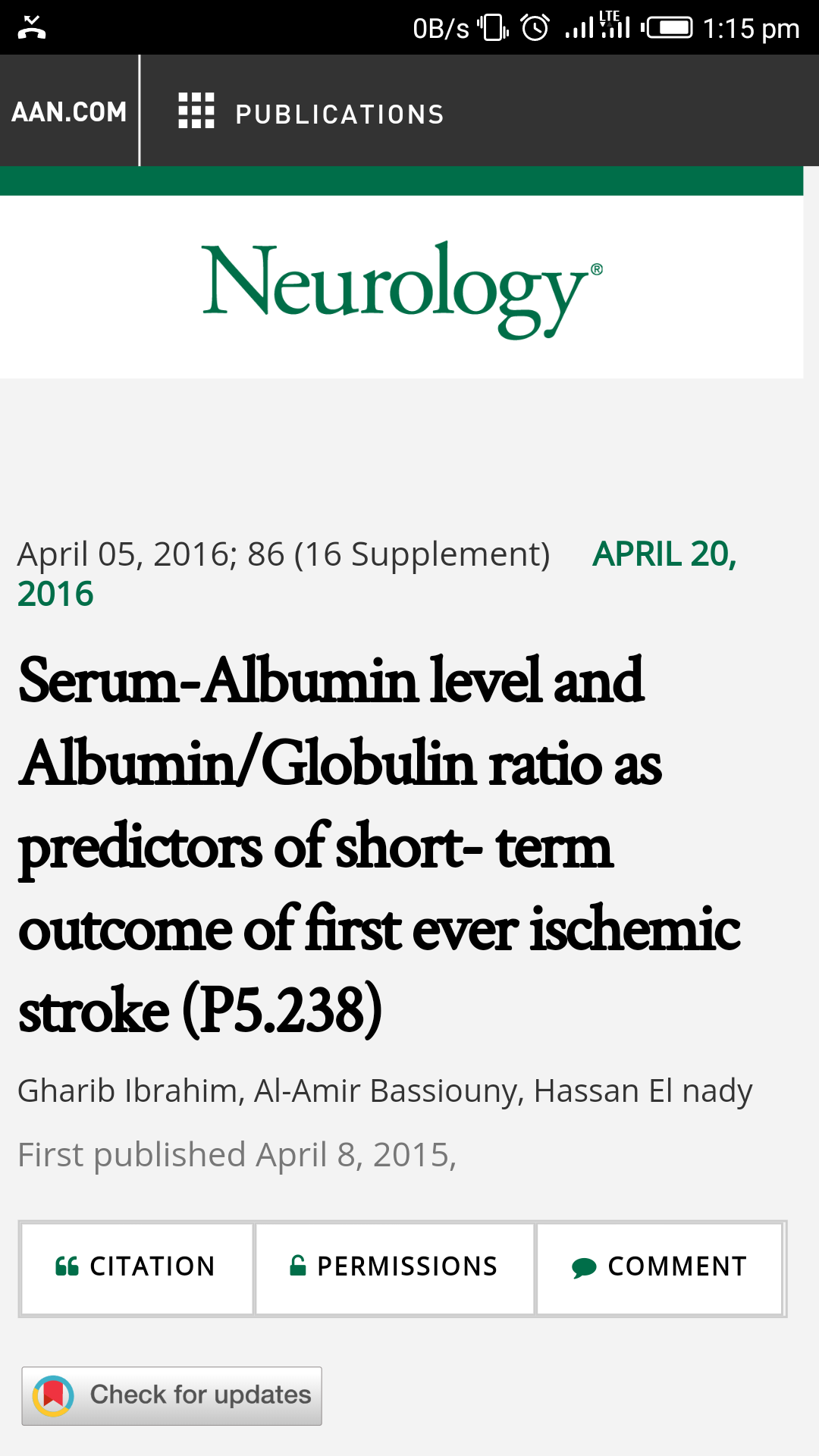 Serum-Albumin level and Albumin/Globulin ratio as predictors of short- term outcome of first ever ischemic stroke (P5.238