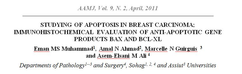 Studying of Apoptosis in Breast Carcinoma; Immunohistochemical Evaluation of Pro- and Anti-apoptotic Gene Products Bax and Bcl-xl