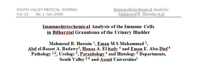 Immunohistochemical Analysis of the Immune Cells in Bilharzial Granuloma of the Urinary Bladder