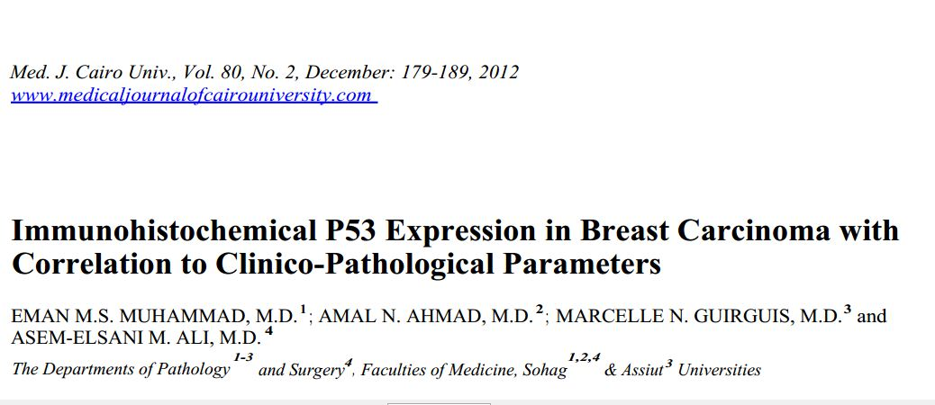Immunohistochemical P53 Expression in Breast Carcinoma with Correlation to Clinico-Pathological Parameters