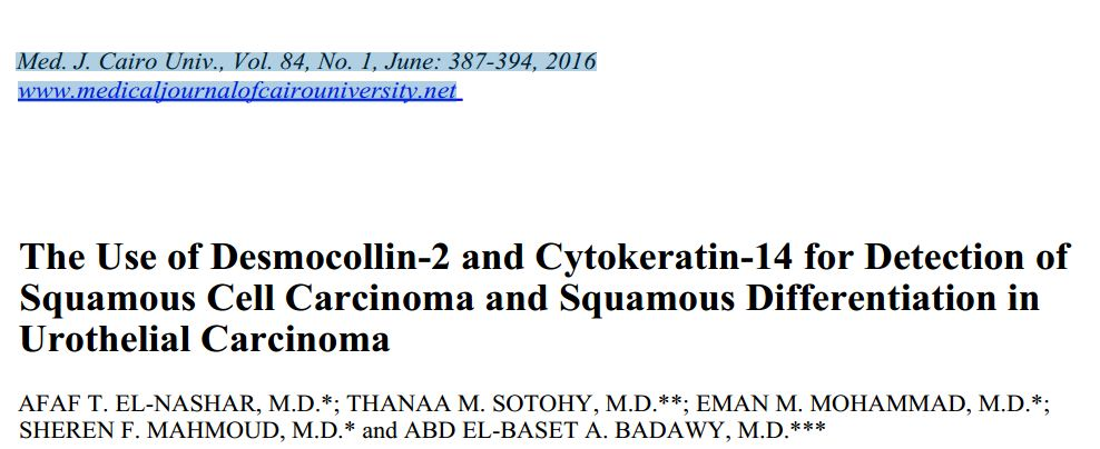 The use of Desmocollin-2 and Cytokeratin-14 for detection of squamous cell differentiation in urothelial carcinoma