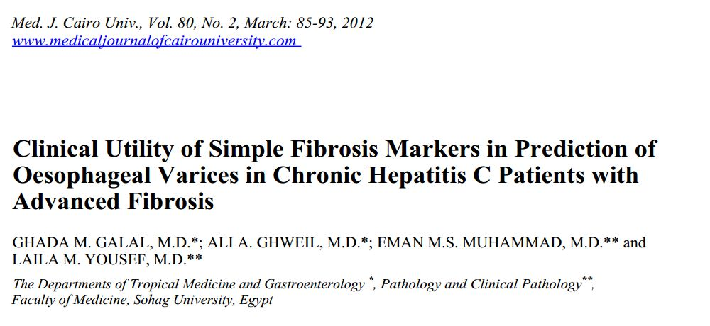 Clinical Utility of Simple Fibrosis Markers in Prediction of Oesophageal Varices in Chronic Hepatitis C Patients with Advanced Fibrosis