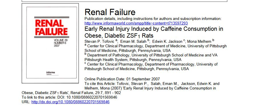 Early renal injury induced by caffeine consumption in obese,  diabetic ZSF1 rats
