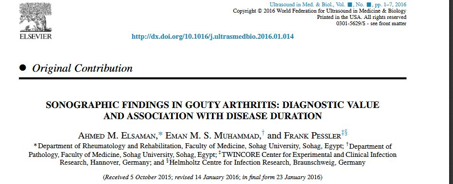 Sonographic Findings in Gouty Arthritis: Diagnostic Value and Association with Disease Duration