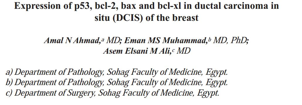 Expression of p53, bcl-2, bax and bcl-xl in ductal carcinoma in situ (DCIS) of the breast.
