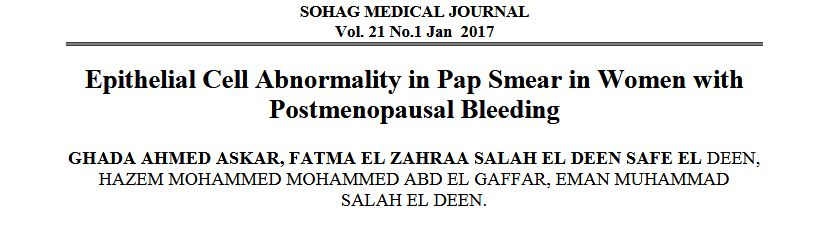 Epithelial Cell Abnormality in Pap Smear in Women with Postmenopausal Bleeding
