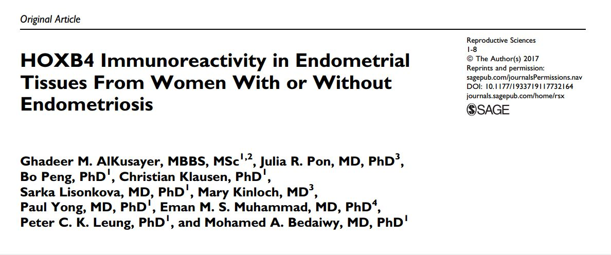 HOXB4 Immunoreactivity in Endometrial Tissues From Women With or Without Endometriosis