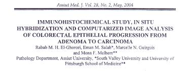 Immunohistochemical Study, In Situ Hybridization and Computerized Image Analysis of Colorectal Epithelial Progression from Adenoma to Carcinoma