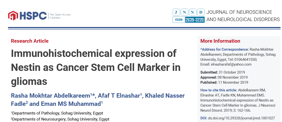 Immunohistochemical expression of Nestin as Cancer Stem Cell Marker in gliomas