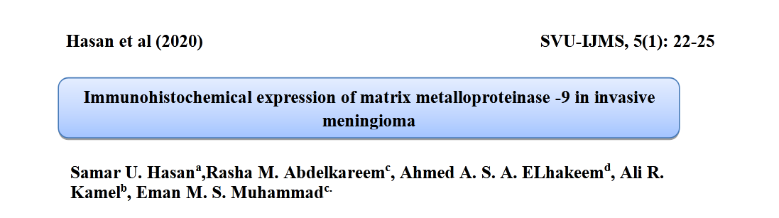 Immunohistochemical expression of matrix metalloproteinase -9 in invasive meningioma.