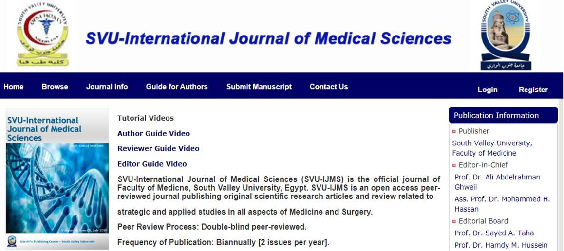 Reviewer in the SVU-International Journal of Medical Sciences