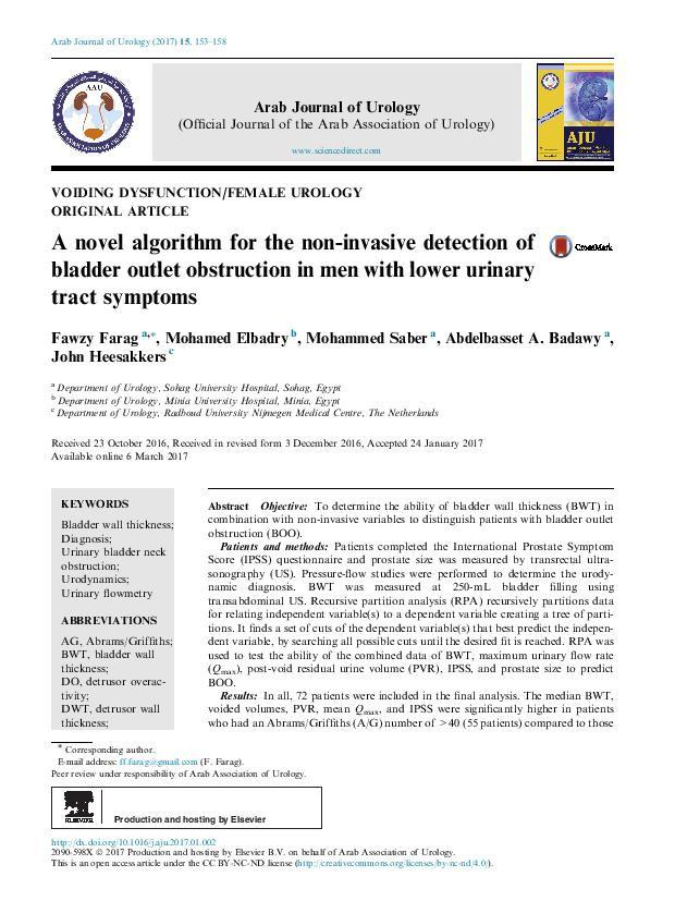 A novel algorithm for the non-invasive detection of bladder outlet obstruction in men with lower urinary tract symptoms