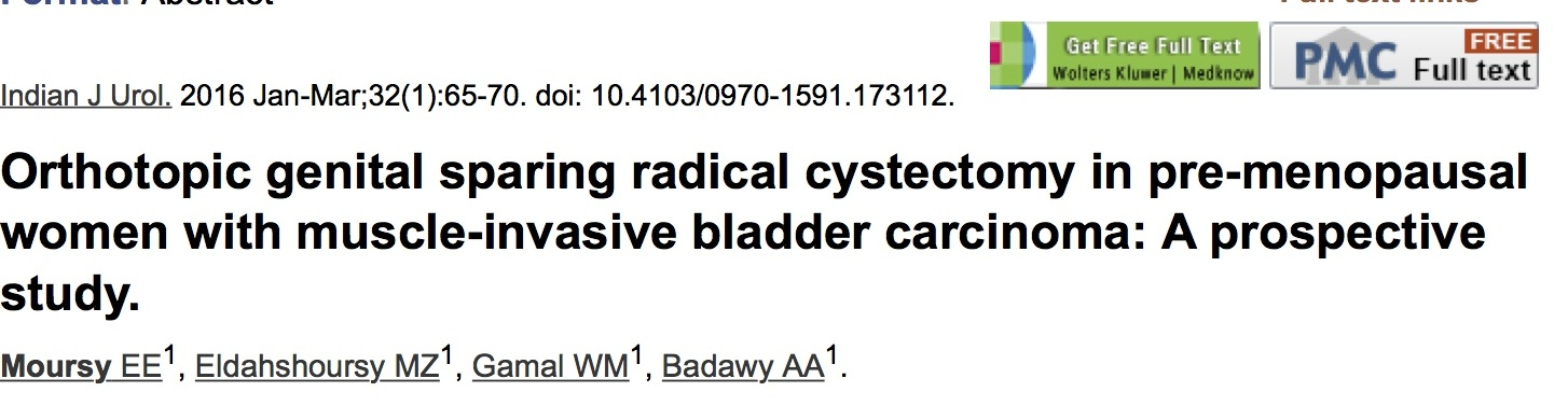 Orthotopic genital sparing radical cystectomy in pre-menopausal women with muscle-invasive bladder carcinoma: A prospective study