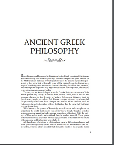 Ancient Greek Philosophy