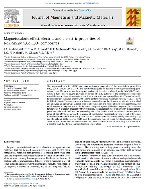Magnetocaloric Effect, Electric, and Dielectric Properties of Nd0.6Sr0.4MnxCo1-xO3 Composites