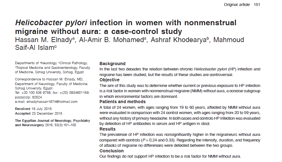 Helicobacter pylori infection in women with nonmenstrual migraine without aura: A case-control study