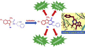 Design, synthesis, mechanistic and histopathological studies of small- molecules of novel indole-2-carboxamides and pyrazino[1,2-a]indol- 1(2H)-ones as potential anticancer agents effecting the reactive oxygen species production