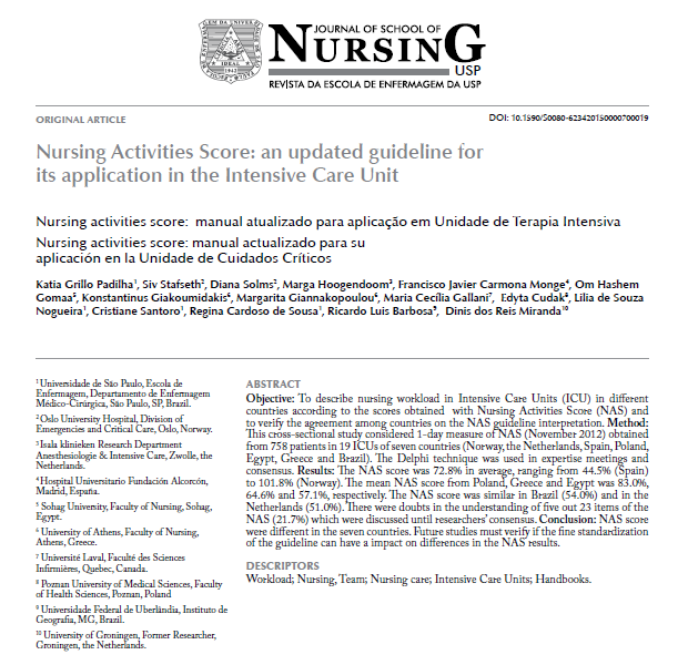 Nursing Activities Score: an updated guideline for its application in the Intensive Care Unit