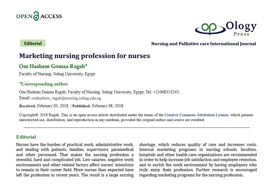 Marketing nursing profession for nurses