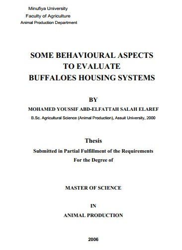 M.Sc. Thesis : Some behavioural aspects to evaluate buffaloes housing systems