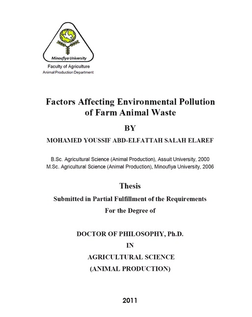 Ph.D. Thesis : Factors Affecting Environmental Pollution of Farm Animal Waste