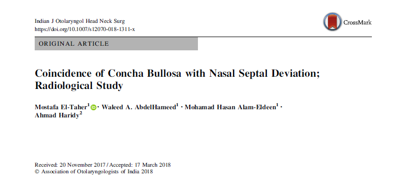 Coincidence of Concha Bullosa with Nasal Septal Deviation; Radiological Study