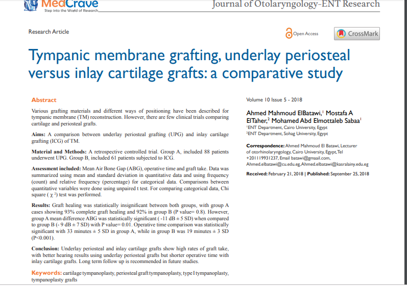 Tympanic membrane grafting, underlay periosteal versus inlay cartilage grafts: a comparative study