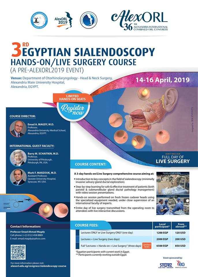 3rd Egyptian Sialendoscopy Hands-on/Live Surgery- Alex ORL