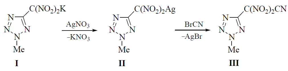 Synthesis of 2-(2-methyltetrazol-5-yl)-2,2-dinitroacetonitrile and its reaction with substituted nitrile N-oxides