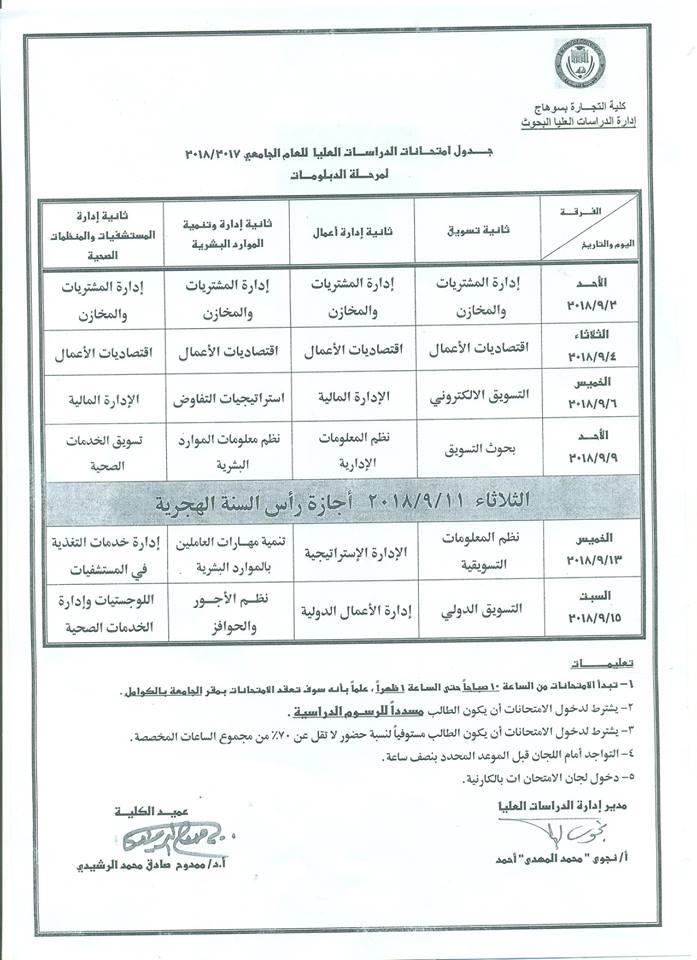 جدول امتحانات مرحلة الدراسات العليا للعام 2017- 2018ملحق 6