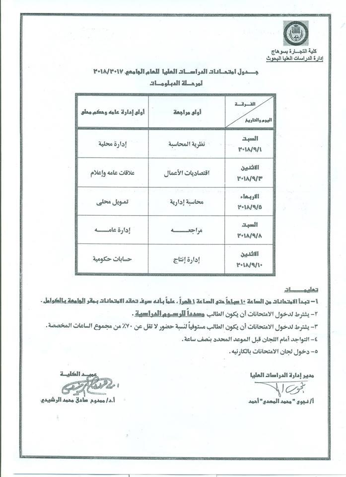 جدول امتحانات مرحلة الدراسات العليا للعام 2017- 2018ملحق 7