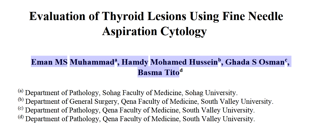 Evaluation of Thyroid Lesions Using Fine Needle Aspiration Cytology