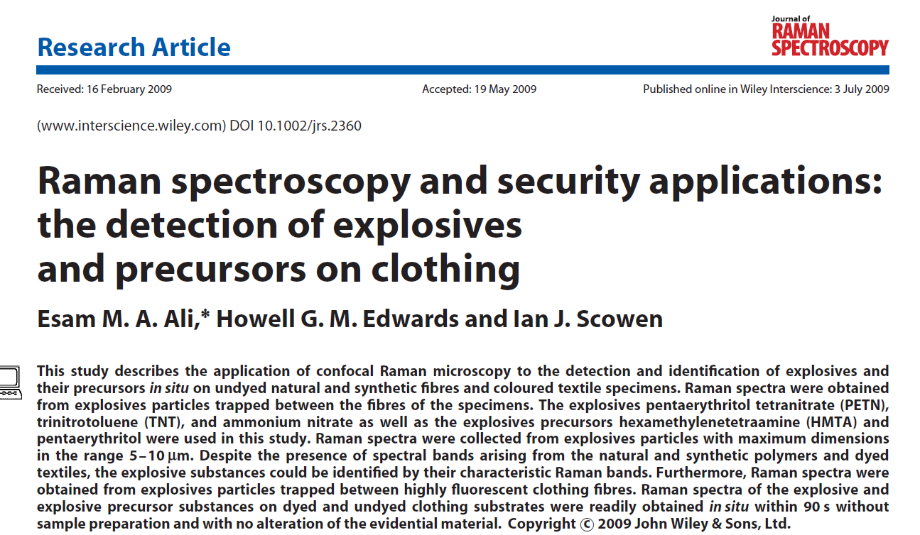 Raman spectroscopy and security applications: the detection of explosives and precursors on clothing