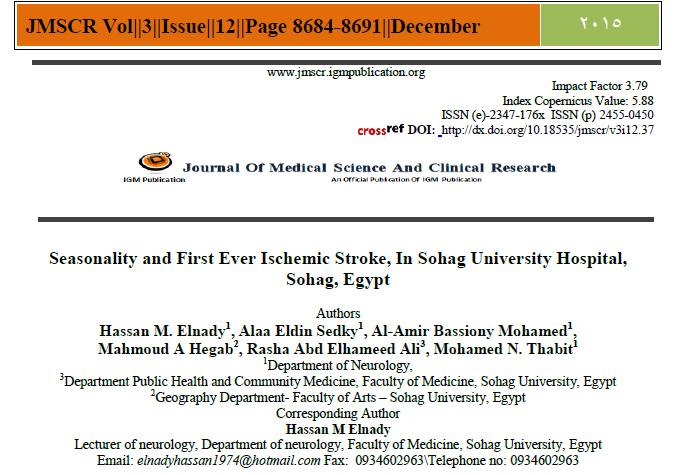 Seasonality and First Ever Ischemic Stroke, In Sohag University Hospital, Sohag, Egypt